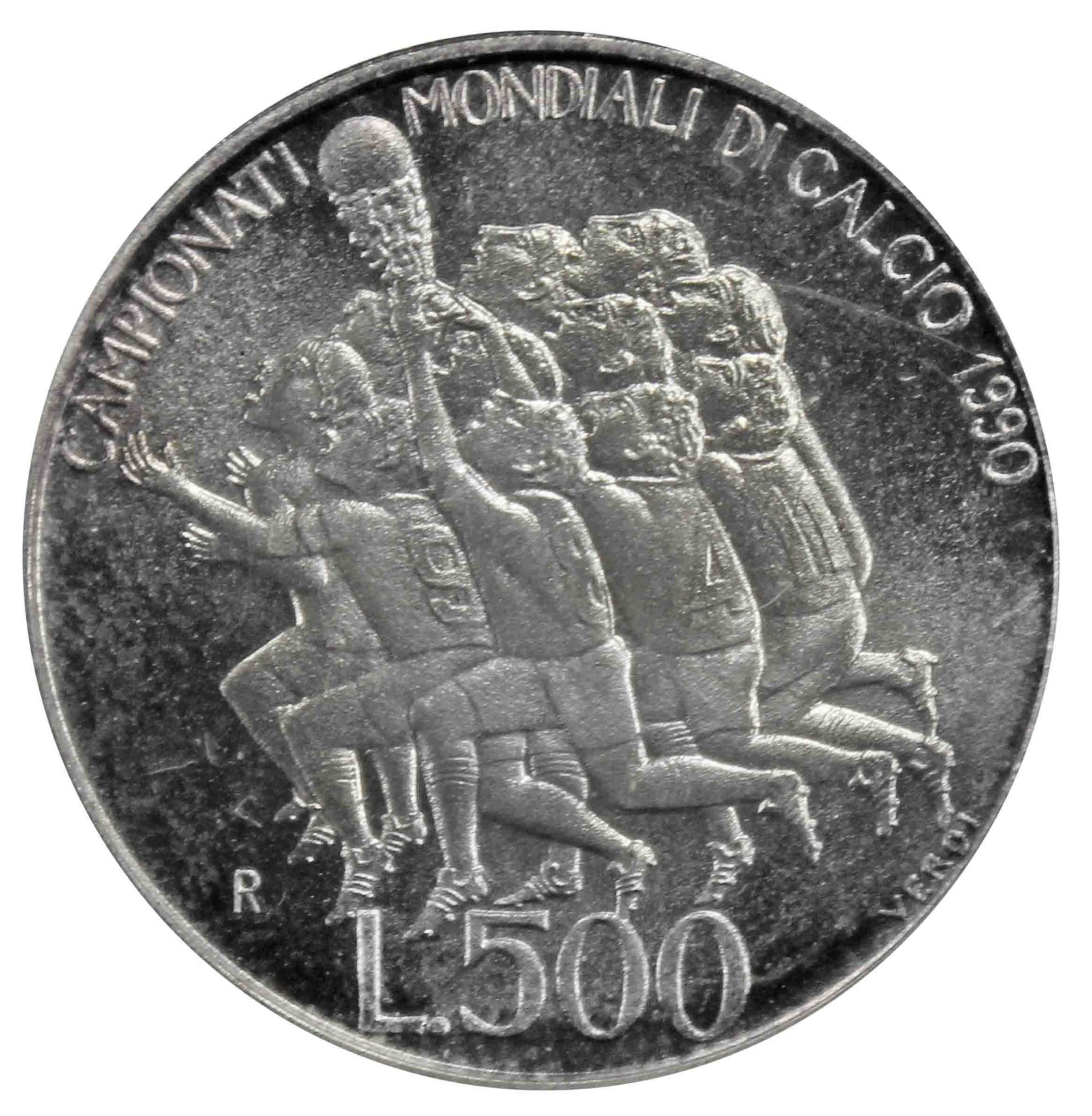 500 лир Чемпионат мира по футболу 1990 года. Сан-Марино. 1990 год Серебро. UNC.