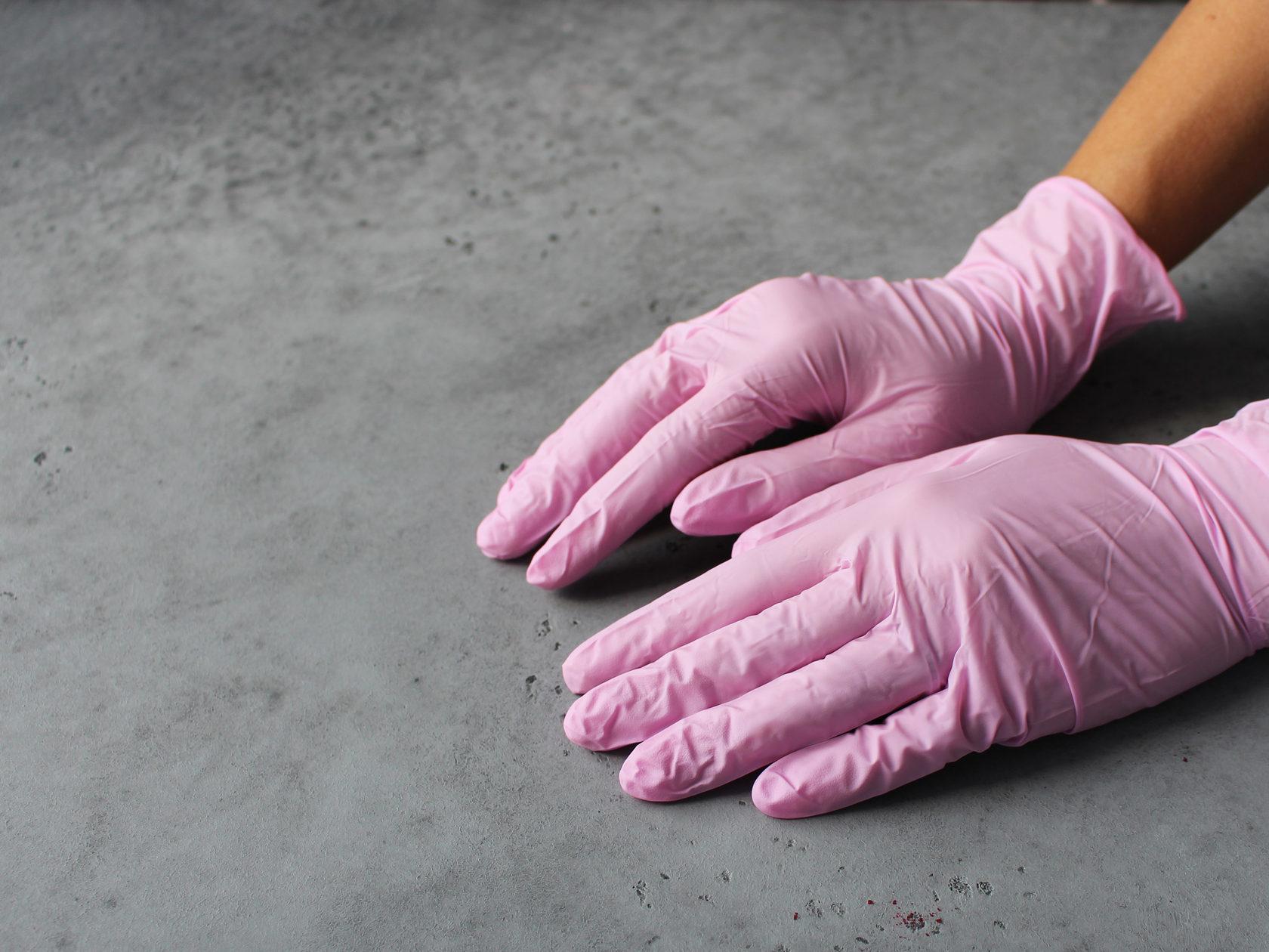 Перчатки нитриловые Розовые SunViv, S