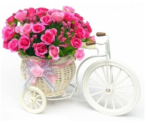 Алмазная Мозаика 20x30 Корзина с розами на велосипеде (арт. JS20473 )