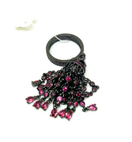 112/04- Кольцо с подвеской кисточкой из серебра с рубиновыми цирконами