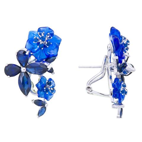 Серьги с цветами из синего кварца и сапфиром Арт.2202сс