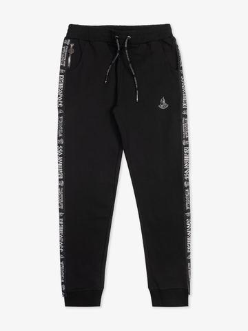 Спортивные штаны чёрного цвета с лампасами, с манжетами