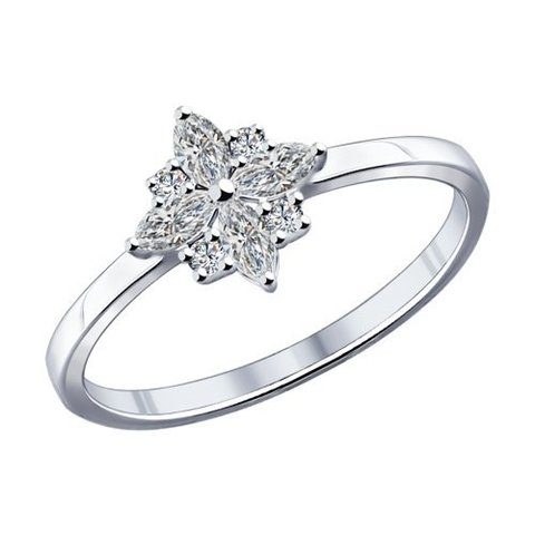 94011797 - Кольцо из серебра в форме звезды  с фианитами