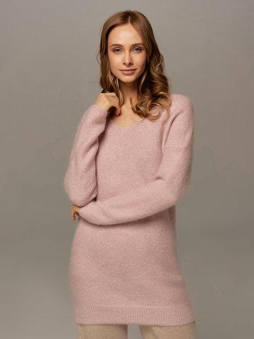 Женский удлиненный джемпер светло-розового цвета с V-образным вырезом - фото 2