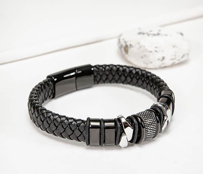BM571 Широкий мужской браслет из плетеного шнура (22) см фото 03