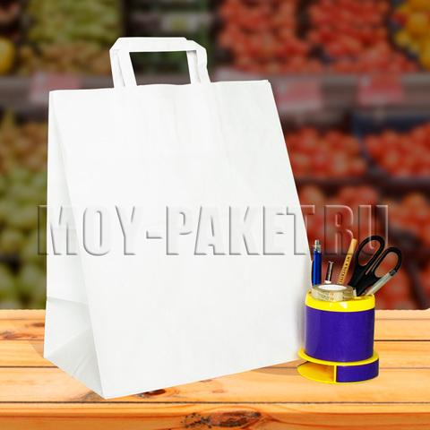 Крафт пакет белый с плоской ручкой 32x37x20 см