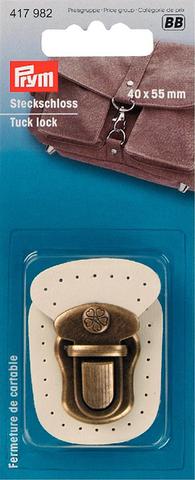 Застежка для портфеля. Prym. Кожа  (цвет топленого молока) и состаренная латунь (Арт. 417982)