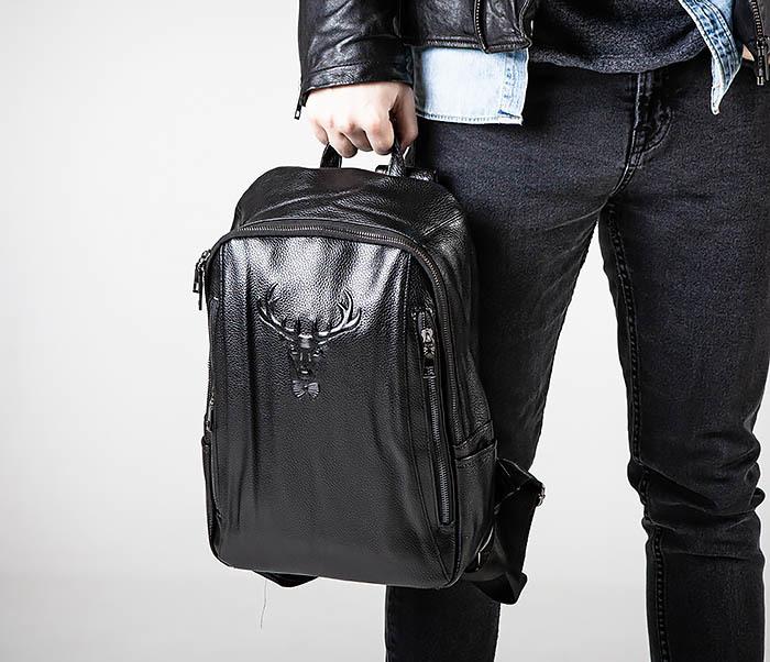 BAG557 Стильный кожаный рюкзак с оленем