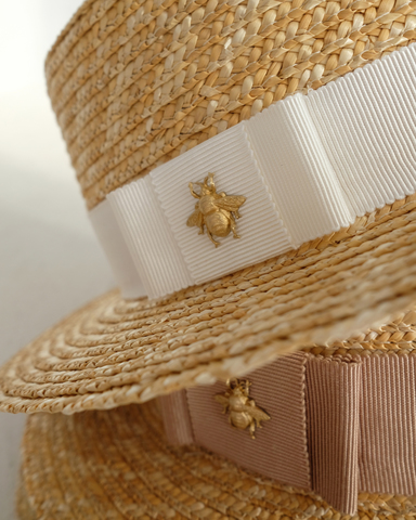 STRAW BOATER hat with the BEE