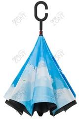 Обратный зонт трость небо с птицами, механический