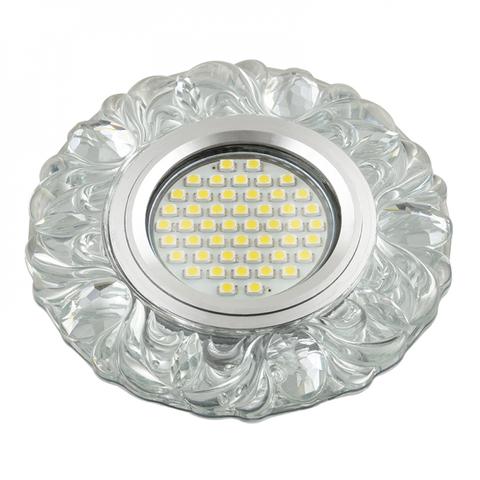 DLS-L136 GU5.3 GLASSY/CLEAR Светильник декоративный встраиваемый, серия Luciole. Без лампы, цоколь GU5.3. Доп. светодиодная подсветка 3Вт. Стекло. Зеркальный/прозрачный. ТМ Fametto