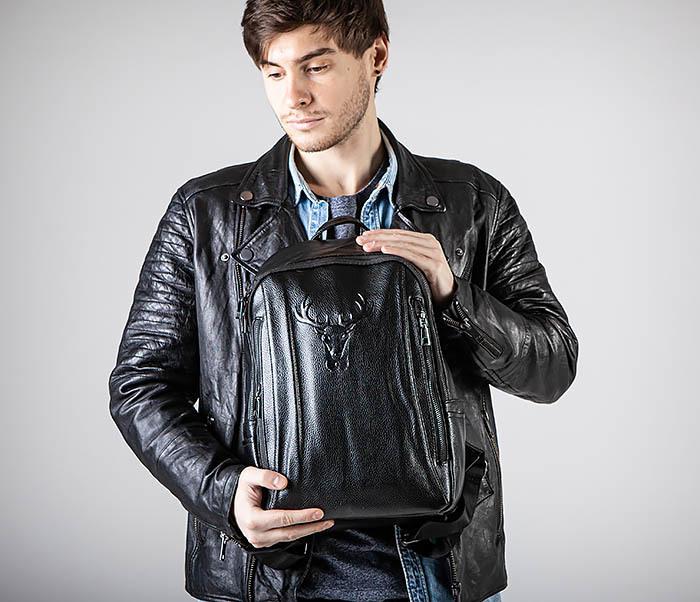 BAG557 Стильный кожаный рюкзак с оленем фото 02