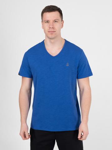 Мужская футболка «Великоросс» синего цвета V ворот