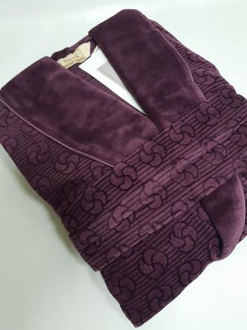 Халат женский велюровый жаккард 0439 фиолетовый NUSA Турция