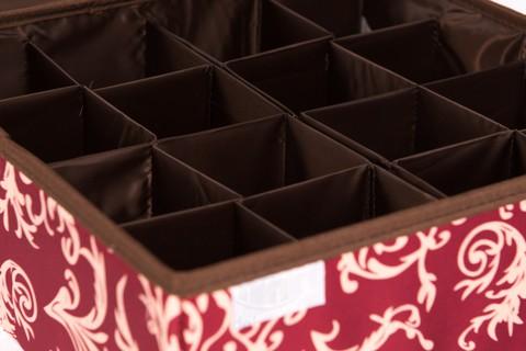 Складной органайзер, 16 ячеек, 32*32*12 см (бордо с узорами)