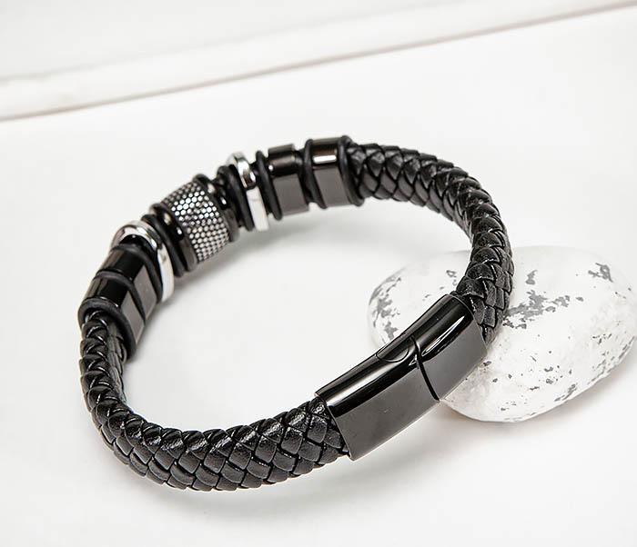 BM571 Широкий мужской браслет из плетеного шнура (22) см фото 07