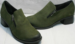Женские модные туфли на толстом каблуке 5 см демисезонные Miss Rozella 503-08 Khaki.