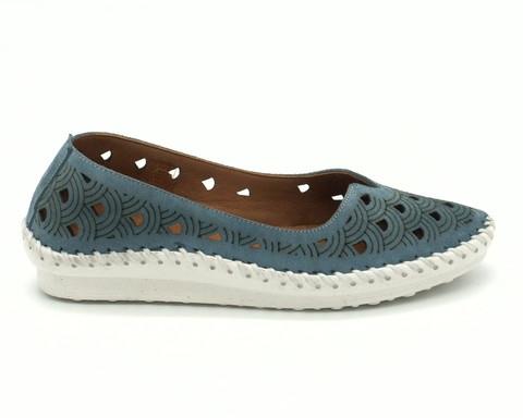 Синие кожаные туфли на контрастной подошве