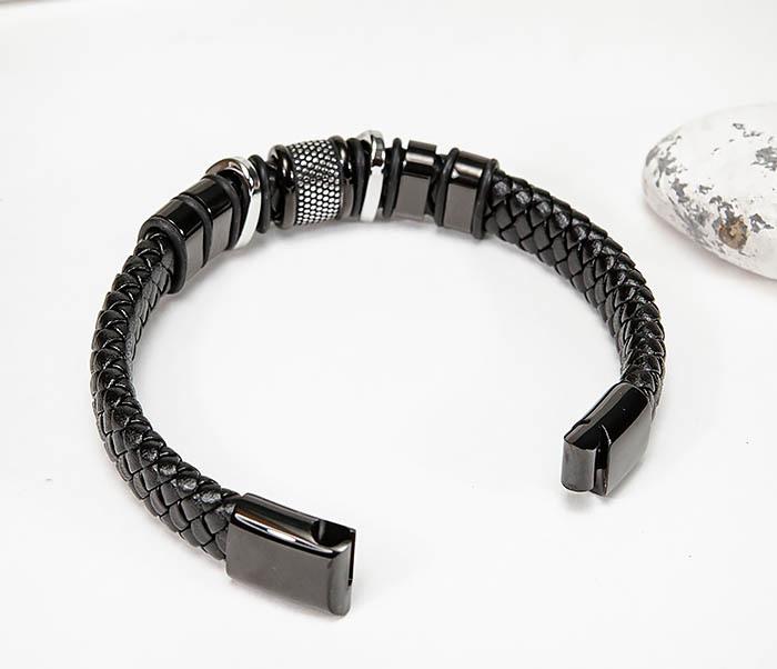 BM571 Широкий мужской браслет из плетеного шнура (22) см фото 08