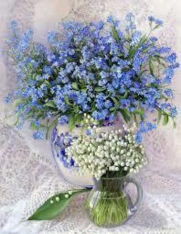 Алмазная Мозаика 40x50 Белый и голубой букеты в прозрачных вазах (арт. 2PAV758)