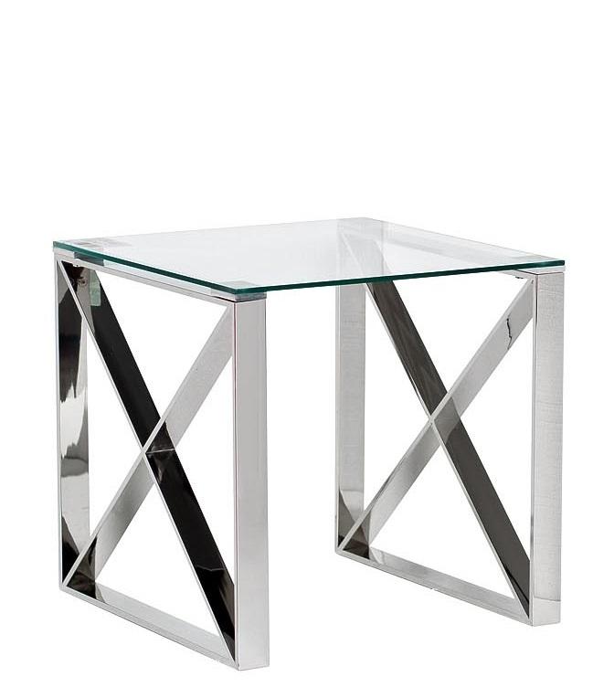 Стол журнальный 47ED-ET008 прозр.стекло/хром 55*55*55см