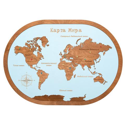 Карта мира из дерева в овальной рамке Blue фото 1