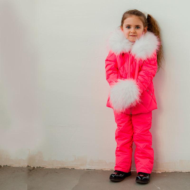 Дитячий демісезонний костюм рожевого кольору з натуральної опушкою
