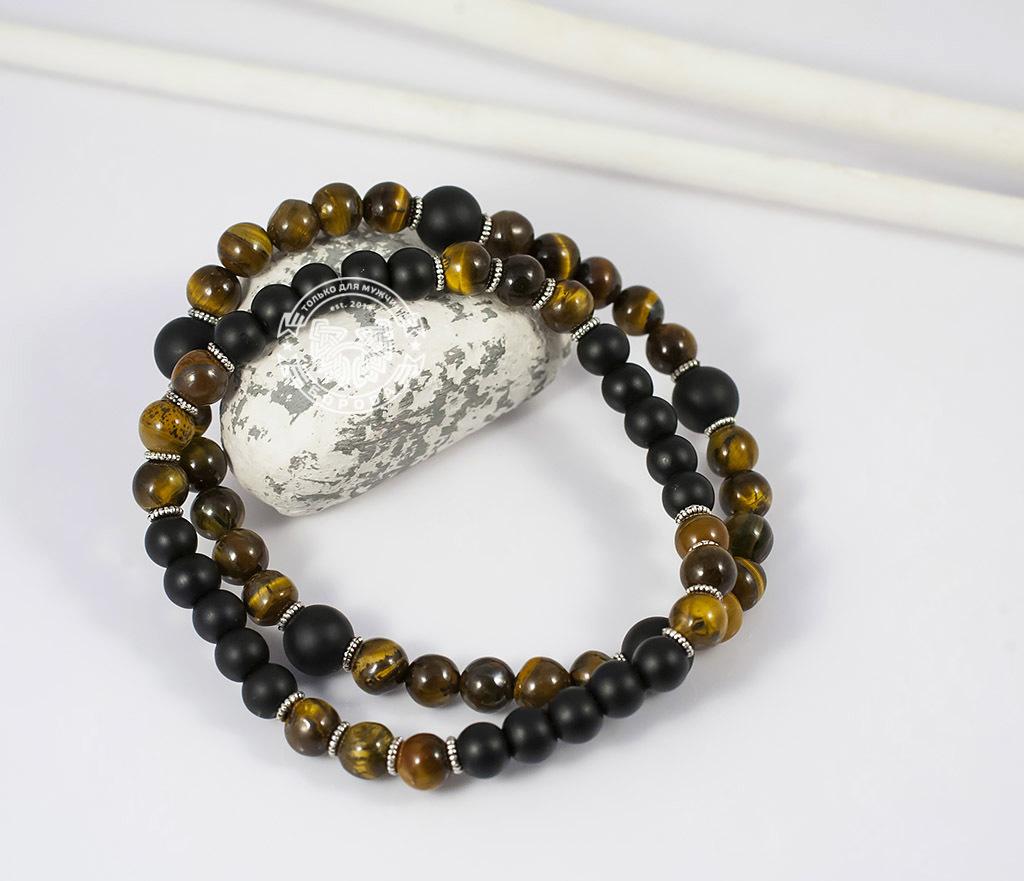 BS655 Яркий двойной браслет из тигрового глаза и шунгита. «Boroda Design»