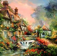 Картина раскраска по номерам 30x40 Дом с водопадом