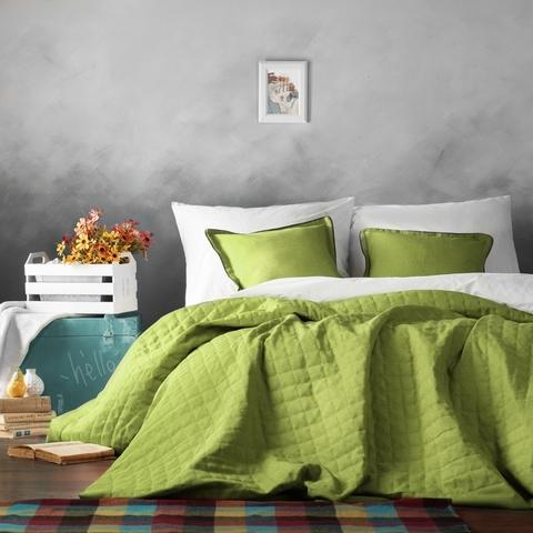 Комплект штор и покрывало рогожка Джейн зеленый 7 предметов