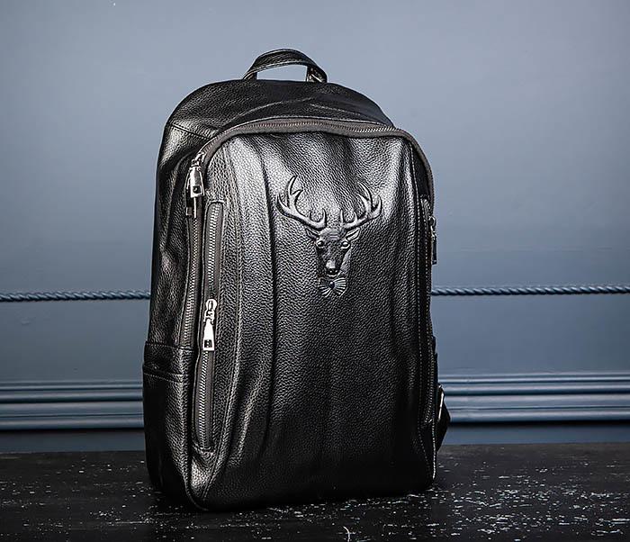 BAG557 Стильный кожаный рюкзак с оленем фото 04