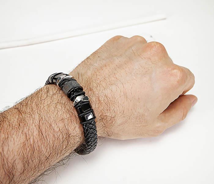 BM571 Широкий мужской браслет из плетеного шнура (22) см фото 09