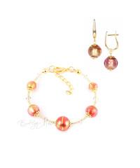 Комплект Примавера золотисто-розовый (серьги на серебре, браслет)