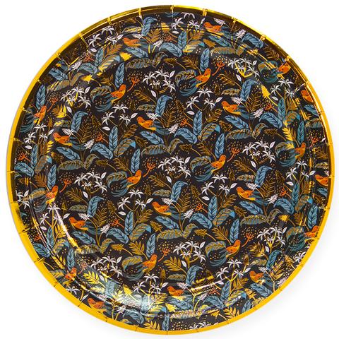 Тарелки (9''/23 см) Райские птицы, Золото/Черный, 6 шт.