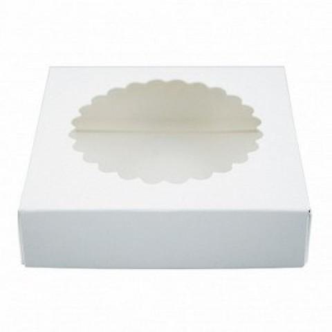 Коробка для печенья 12*12*3, белая с окном