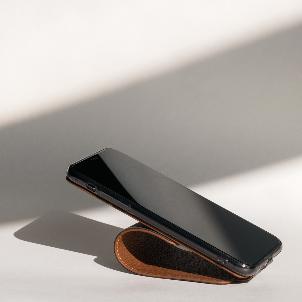 Чехол для iPhone 11 Pro Max из натуральной кожи теленка, цвета карамель