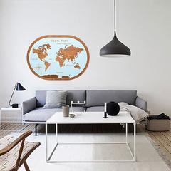 Карта мира из дерева в овальной рамке Blue фото в интерьере