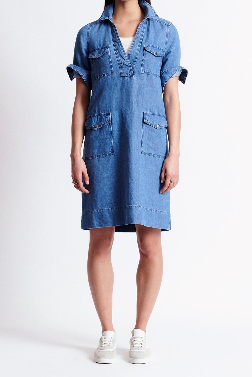 SAMANTHA - короткое джинсовое платье-рубашка