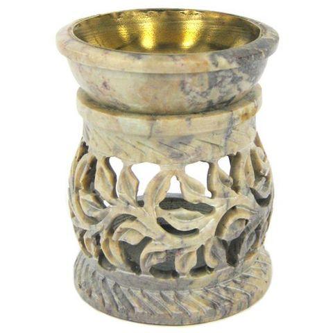 Аромалампа Stone камень c бронзовой чашей, 8 см