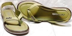 Открытые босоножки сандалии женские через палец Evromoda 454-411 Olive.