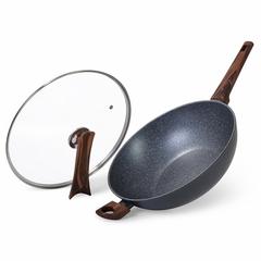 14957 FISSMAN Сковорода-вок CAPELLA 30x8,5см / 4,3л со стеклянной крышкой (алюминий)