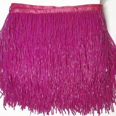 Купить оптом бахрому из стекляруса Fuchsia ярко-розовую в интернет-магазине