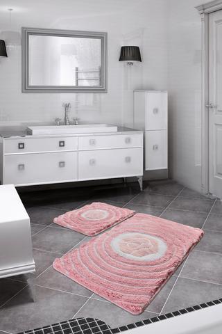 Коврик для ванной DO&CO (60Х100 см/50x60 см) FLORIA цвет розовый