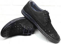 Черные кожаные мокасины туфли летние мужские деловой кэжуал Luciano Bellini 91754-S-315 All Black.