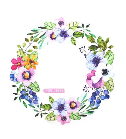 Панель(купон) цветы и голубика-80*80 см