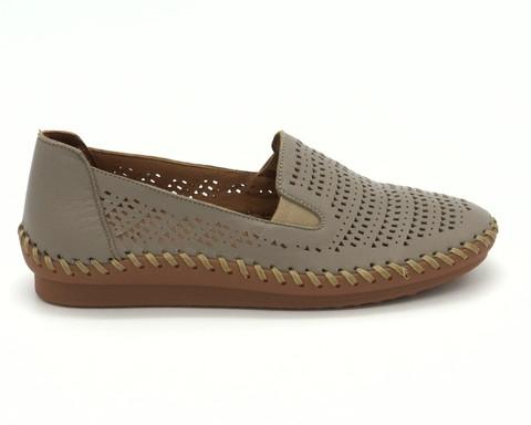 Серые кожаные туфли с перфорацией на гибкой подошве