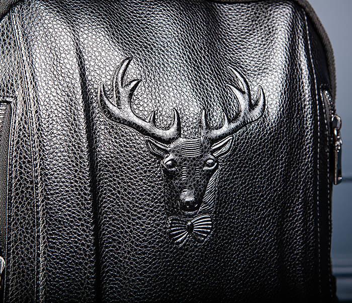BAG557 Стильный кожаный рюкзак с оленем фото 06