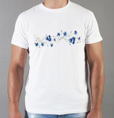 Футболка с принтом Цветы (Васильки) белая 001