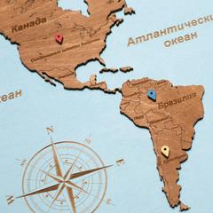 Карта мира из дерева в овальной рамке Blue фото 3