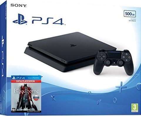 Игровая консоль Sony PlayStation 4 Black Slim 500Гб + диск Bloodborne. Порождение крови